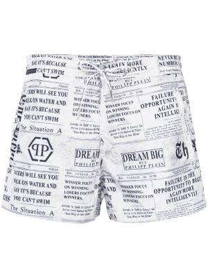 Пляжные шорты с принтом газеты Philipp Plein. Цвет: белый