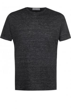 Льняная футболка с круглым вырезом Cortigiani. Цвет: темно-серый