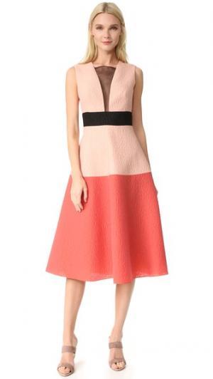 Платье с цветными блоками Lela Rose. Цвет: коралл мульти