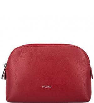 Кожаная косметичка с карманами Picard. Цвет: красный