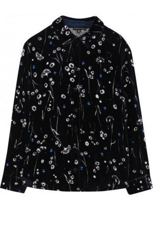 Бархатная блуза с принтом Alexander Terekhov. Цвет: синий