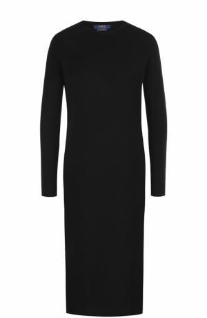 Шерстяное платье-миди с длинным рукавом Polo Ralph Lauren. Цвет: черный