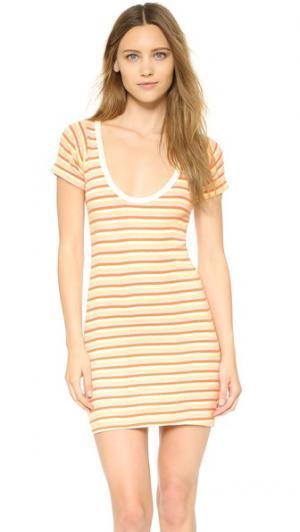 Мини-платье с округлым воротом Edith A. Miller. Цвет: оранжевый sr «закат» в полоску