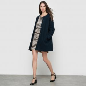 Пальто, 50% шерсти. SUNCOO. Цвет: сине-зеленый