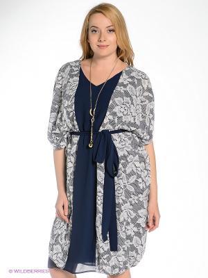 Платье Gemko plus size. Цвет: синий, белый