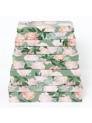 Подарочная коробка VELD-CO. Цвет: зеленый, персиковый, розовый
