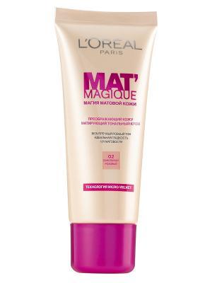 Тональный крем Mat Magique, оттенок 02, Ванильный розовый, 25 мл L'Oreal Paris. Цвет: розовый