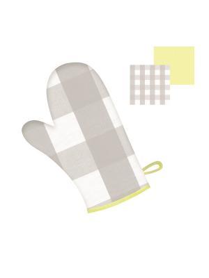 Прихватка-рукавица DEKORTEX. Цвет: светло-серый, светло-желтый