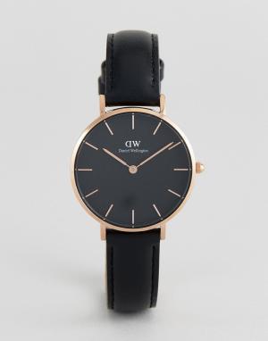 Daniel Wellington Часы 32 мм с черным кожаным ремешком DW00100168 Peti. Цвет: черный
