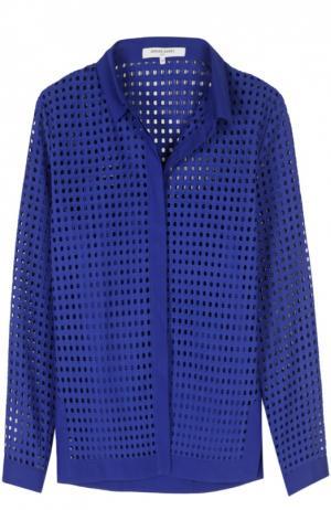 Перфорированная блуза прямого кроя Gerard Darel. Цвет: темно-синий