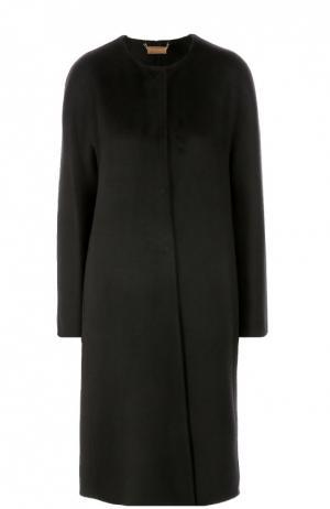 Кашемировое пальто прямого кроя с круглым вырезом Colombo. Цвет: черный