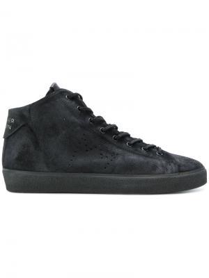 Хайтопы на шнуровке Leather Crown. Цвет: чёрный