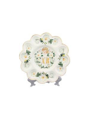 Тарелка для фаршированных яиц ХВ Белый шиповник Elan Gallery. Цвет: белый, зеленый