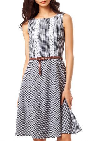 Приталенное платье с поясом VILATTE. Цвет: синий, белый