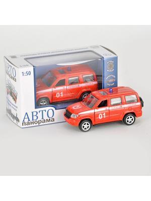 Машинка металлическая инерц. Пожарная служба 1:50, открываются двери в/к АВТОПАНОРАМА. Цвет: белый, черный, красный