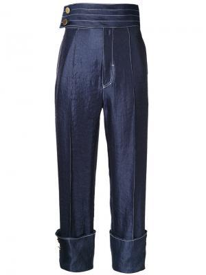 Атласные брюки с отворотами G.V.G.V.. Цвет: синий