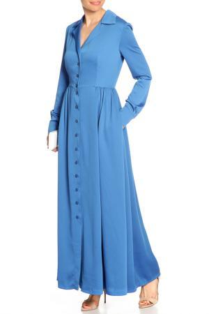 Платье макси, пуговицы NATALIA PICARIELLO. Цвет: синий