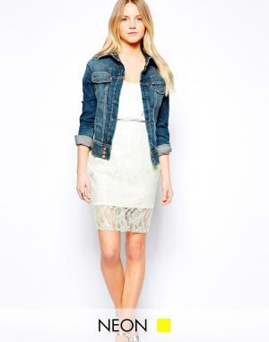 Jovonnista Кружевная юбка с неоновыми акцентами Manos. Цвет: желтый