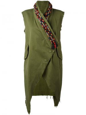 Жилет с вышивкой на воротнике Bazar Deluxe. Цвет: зелёный