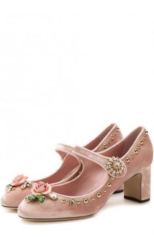 Бархатные туфли Vally с декором Dolce & Gabbana. Цвет: розовый