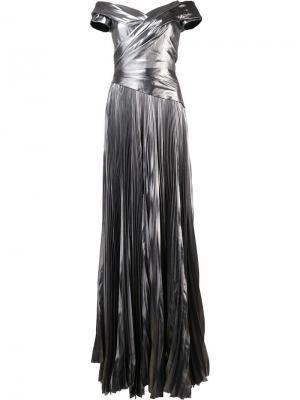 Плиссированное платье с открытыми плечами J. Mendel. Цвет: металлический