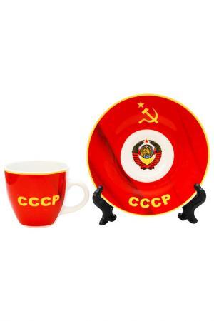 Чашка с блюдцем (2 шт.) Федерация. Цвет: красный