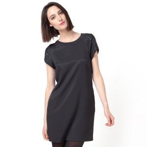 Платье короткое с короткими рукавами, бусинами и пайетками COLOR BLOCK. Цвет: черный