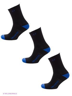 Носки спортивные, 3 пары Unlimited. Цвет: черный, синий