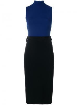 Приталенное платье в двух тонах David Koma. Цвет: синий