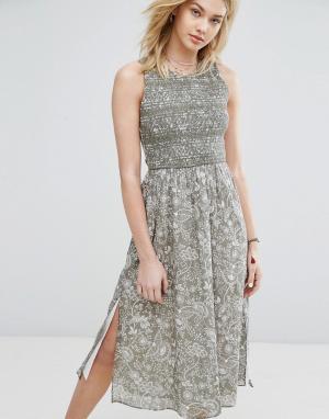 Abercrombie & Fitch Платье миди с высоким вырезом. Цвет: мульти