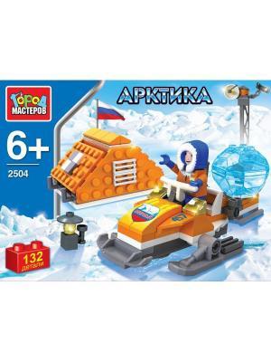 Конструктор Город Мастеров Арктика. Полярник на снегоходе, с фигурками, 132 дет.. Цвет: синий, оранжевый, белый