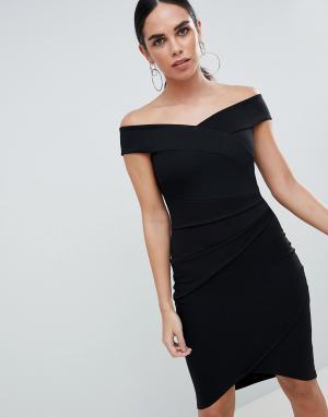 Jessica Wright Платье миди с запахом и открытыми плечами. Цвет: черный