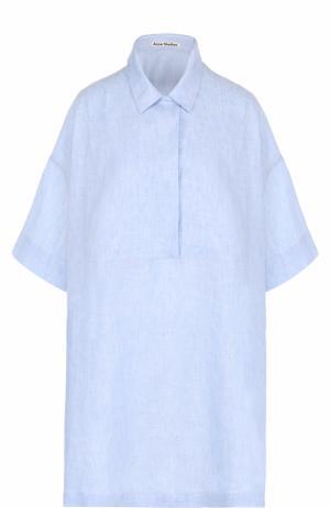 Льняное платье-рубашка свободного кроя Acne Studios. Цвет: голубой
