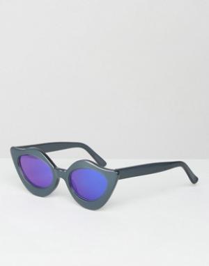 House of Holland Солнцезащитные очки с синими зеркальными линзами Lips. Цвет: синий