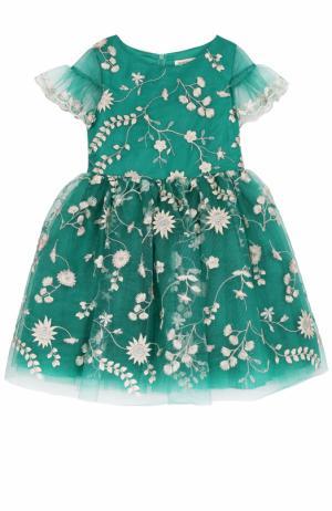 Мини-платье с вышивкой и пышной юбкой David Charles. Цвет: зеленый