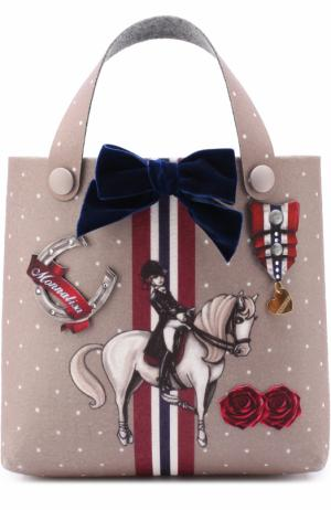 Текстильная сумка с принтом и декором Monnalisa. Цвет: коричневый