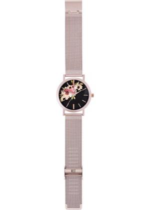 Часы с цветочным узором на циферблате (розово-золотистый) bonprix. Цвет: розово-золотистый