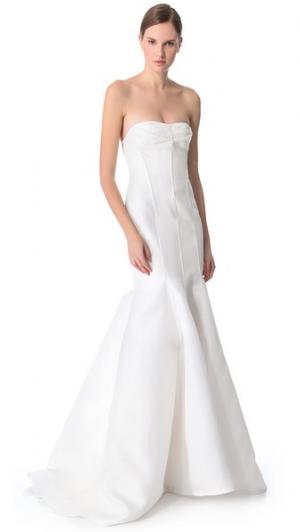Вечернее платье «русалка» без бретелек Blanche J. Mendel. Цвет: темный оттенок слоновой кости