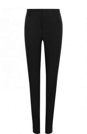 Шерстяные брюки с карманами и контрастными лампасами Saint Laurent. Цвет: черный