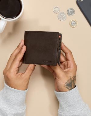 Paul Costelloe Коричнево-оранжевый кожаный бумажник. Цвет: коричневый
