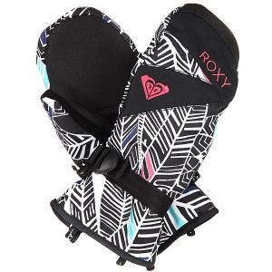 Варежки сноубордические женские  Jetty Mitt Ha-hui True Black Roxy. Цвет: черный,белый