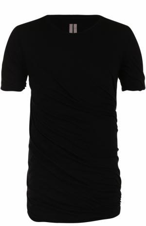 Удлиненная хлопковая футболка Rick Owens. Цвет: черный
