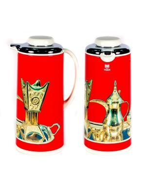 Термос метал. 1.9л. со стеклянной колбой Арабские мотивы красный Tiger corporation. Цвет: красный