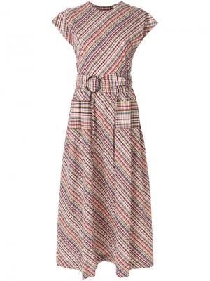 Платье в клетку с поясом Isa Arfen. Цвет: многоцветный