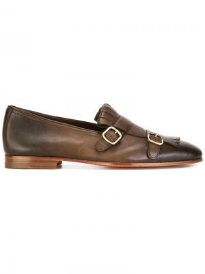 Туфли монки с градиентным эффектом Santoni. Цвет: коричневый