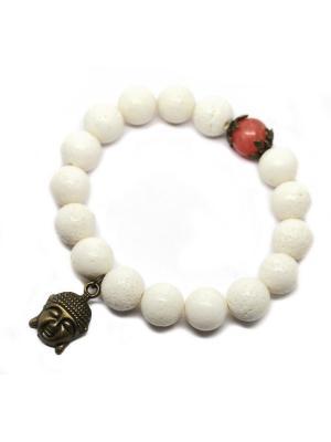 Браслет из коралла с подвеской Будда. KARMONIA. Цвет: белый, бронзовый, светло-коралловый