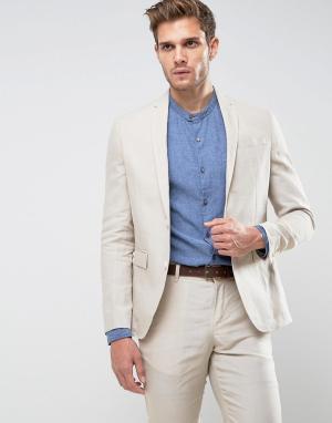 Jack & Jones Приталенный льняной пиджак Premium. Цвет: рыжий
