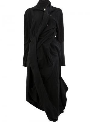 Платье перекрученного дизайна с длинными рукавами Aganovich. Цвет: чёрный