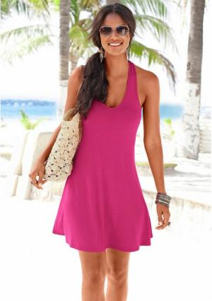 Пляжное платье. Цвет: бирюзовый, черный, ярко-розовый
