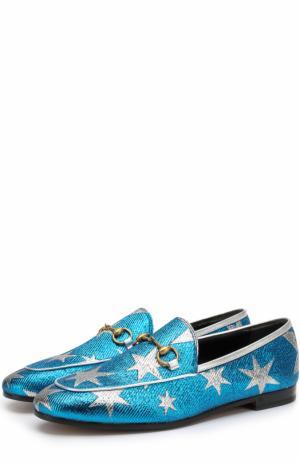 Текстильные лоферы New Jordaan с пряжкой-трензелем Gucci. Цвет: голубой